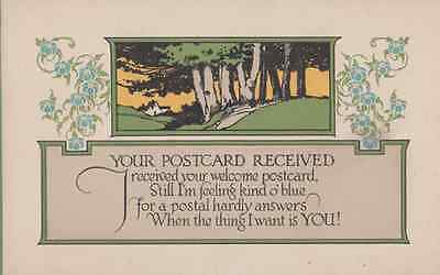 I Received Your Card From Postman But I Want You Here Old Romance Love Postcard