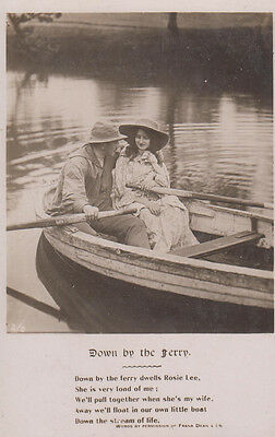 Down By The River Rosie Lee Boat Songcard Real Photo Poetry Song Postcard