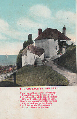 Derby Cottage By The Sea  Poetry Songcard Antique Poem Postcard