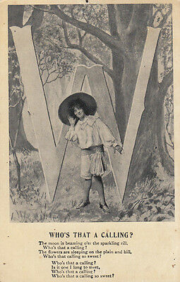 Who Is That Calling Giant Letter W Antique Poem Songcard Postcard