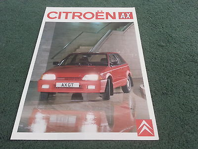 January 1989 Citroen AX 3 DOOR / 5 DOOR / GT - UK 6pg COLOUR FOLDER BROCHURE ds