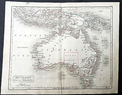 1838 Sydney Hall Antique Map of Australia - New Holland