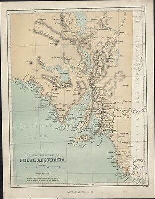 1868 Hughes Antique Map of The Settled Portions of South Australia