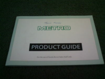 MAY 1987 Austin Rover MG METRO SALESMAN ONLY PRODUCT GUIDE - 40 PAGE BROCHURE