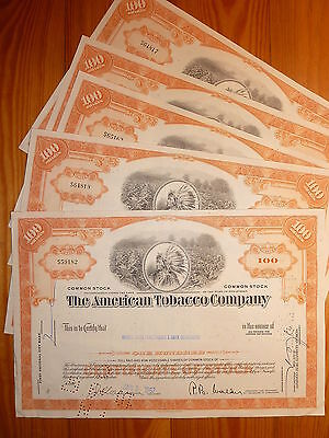 US: TABAK: American Tobacco Company, 5 St. 100 Shares, orange, 1967*