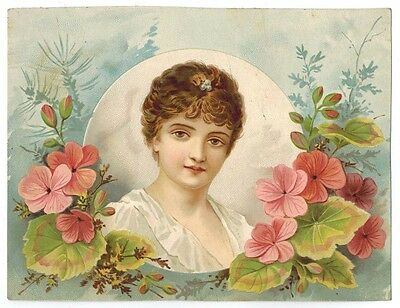 ANTIQUE TRADE CARD Flowers Pretty Girl Woolson Spice Lion Coffee Litho c1890