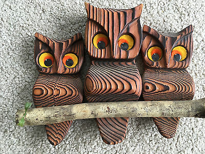 VTG Mid Century 3 Hand Carved Wood Owls On Branch Wall Hanging Orange big eyes