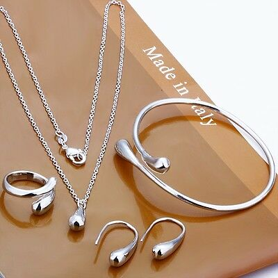 Fashion wholesale solid 925Silver Sets Necklace bracelet Earrings ring+ gift box