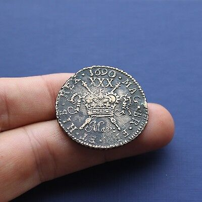 Milled Base Coin James 2nd Gunmoney Large Half Crown Mar 1690 AD