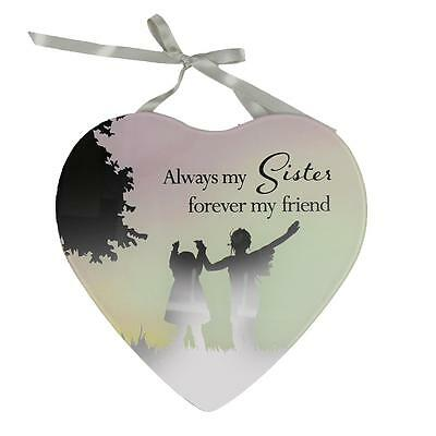 Reflections Mirror Glass Hanging Heart Plaque Gift – Sister