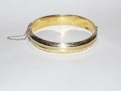 Vintage 9Ct Gold On Sterling Silver Ladies Hinged Bangle Bracelet 12Mm Jewellery