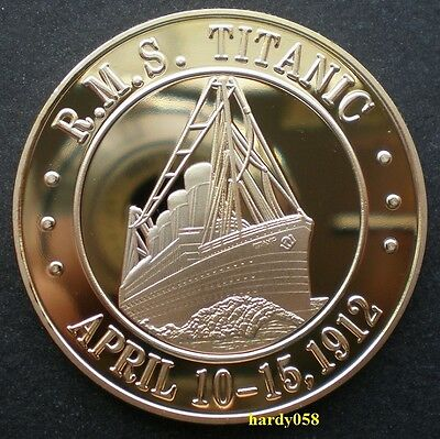 "❀ RMS Titanic ""White Star Line Flag"" coin Gold Plated 1oz"
