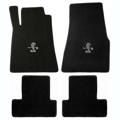 2013-14 Mustang Shelby GT500 4pc Black Floor Mats w Cobra GT 500 Embroidery Logo
