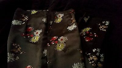 Chinese Ethnic Lady's Flowers Casual Dressy Pants Trousers SZ 8 Waist 30 by 30