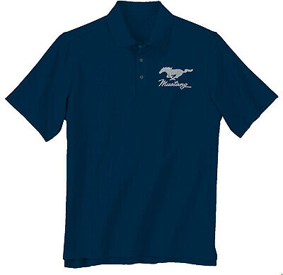 Ford Mustang Running Horse Pony Blue Polo Collared Shirt 100% Polyester - 2X