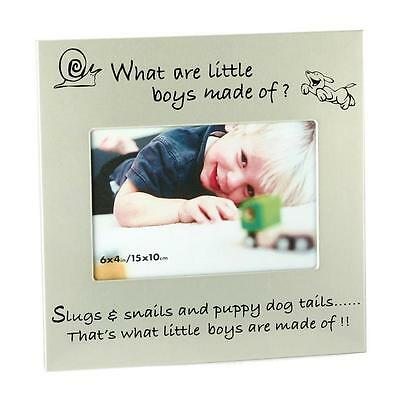 Silver Black 6x4 Photo Frame What are little Boys Made of