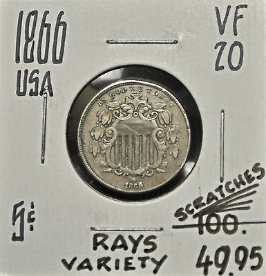 1866 w/rays USA 5 cents VF-20 *scratches