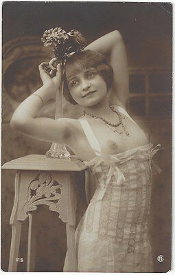 1920 French NUDE Photograph -- Beautiful Breasts & Wearing Lingerie - Flapper