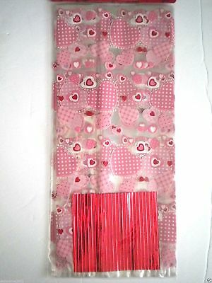"Pkg. of 25 ""VALENTINE"" Luxury Cello Candy Bags ~ 5"" x 11"" ~ #9"