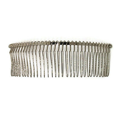 "12 Metal Hair Combs 32 Wire Teeth Silver Bridal Prom Supply Accessory 5"" 130mm"