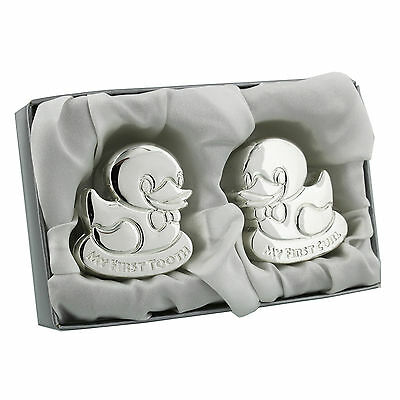 Silver Plated DUCK Tooth Curl Box Baby Christening Gift CG1102
