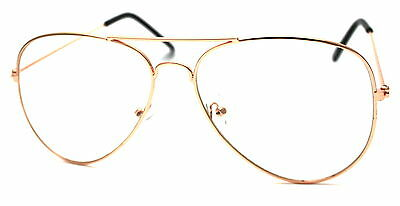 Quality  ROSE GOLD Metal Frames Clear Lens Glasses Geek Nerd Retro Pilot Style