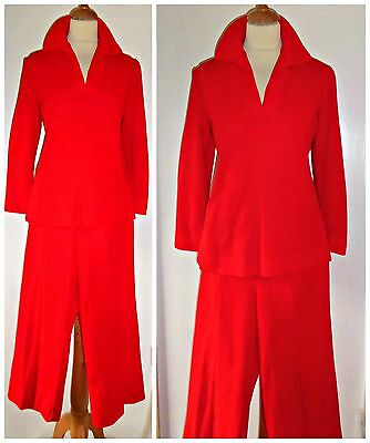 Vintage 60S Neon Bright Cropped Trouser Suit Uk 10 Mod Gogo Scooter