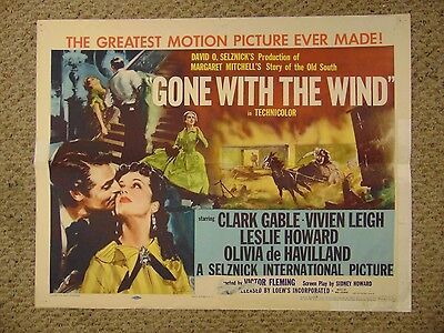 "Clark Gable Vivien Leigh Gone With The Wind 1954 Reissue 22x28"" Poster #L9529"