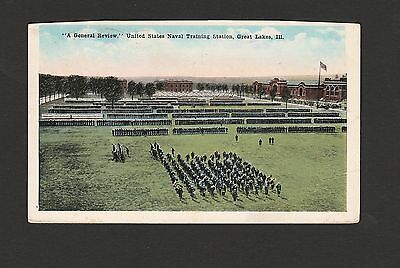 1918 WW1 Military Corespondence Postcard Naval Trauining Station Great Lakes ILL