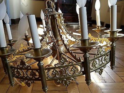 antique  Brass 12 Candlestick Chandelier ornate reticulated gas conversion ?