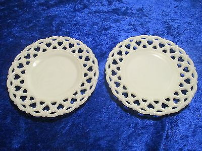 """2 Westmoreland Milk Glass Plates Forget Me Not Open Lace Reticulated Edge 7 1/4"""""""