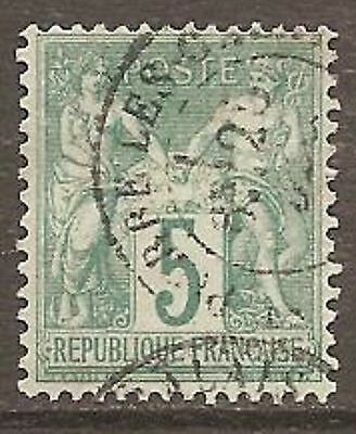 1876 France 5c Peace & Commerce `N` under `B` SG 215 Used (Cat £48)