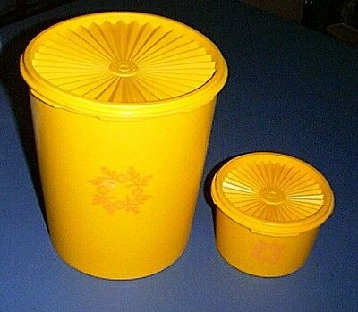 TUPPERWARE Servalier Seal Canister Jar Set of (2) BRIGHT YELLOW & ORANGE Decal