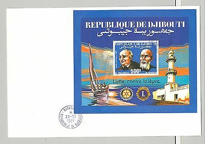 Djibouti 1987 Follereau, Leprosy, Rotary 1v S/S Perf & Imperf on 2 FDC