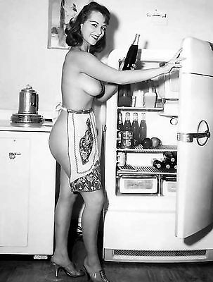 60s Nude Pinup With only apron in refrigerator gigantic breasts 8 x 10 Photo