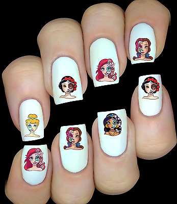 Disney Princesses sugar skull ongles manucure nail art water decal sticker