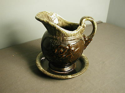 VINTAGE PITCHER AND BOWL - HULL USA  A51 - GREEN BROWN AND BLACK - gh