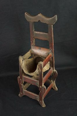 """Great antique Chinese carved wood chair-shaped brush holder 12"""" [Y8-W7-A9-E9]"""