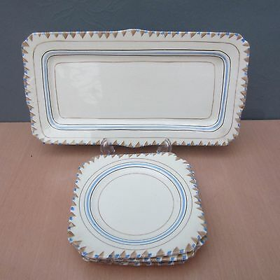 Vintage Myott Son & Co - Cake/sandwich Tray & 5 Square Side Plates