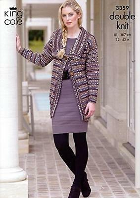 King Cole Ladies Long Short Cardigan DK Yarn Knitting Pattern 3359