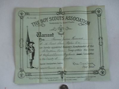 """Scouting--- """"warrant""""---Signed By R.b.powell The Chief Scout-1922"""