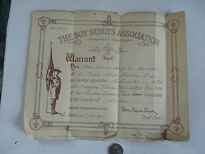 """Scouting--- """"warrant""""-Signed By R.b-Powell The Chief Scout---1920"""