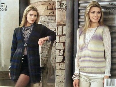 King Cole Riot DK Yarn Ladies Cardigan & Top Knitting Pattern 3313