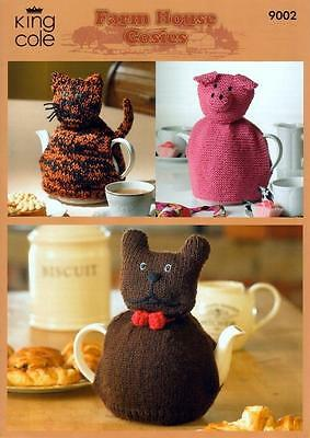 King Cole Farmhouse Tea Cosies DK Yarn Knitting Pattern 9002
