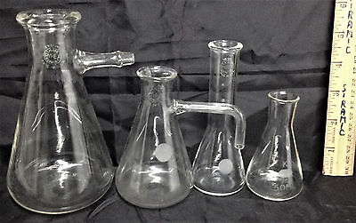4 GLASS FLASKS PYREX GREEN MARKS doctor lab apothecary science vintage chemistry