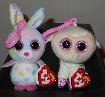 Ty 2017 Basket Beanies Boos Set ~ BUBBY & TWINKLE (Easter Key Clips) ~ IN HAND