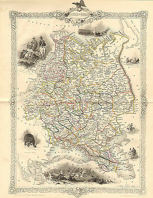 """1850s map """" the life and times of wellington """" russia in europe  . illustrated"""