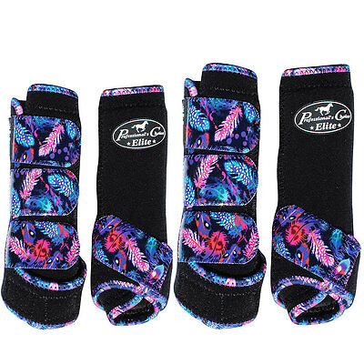 Lrg Professional Choice Elite Sports Horse Medicine Boots 4 Pack Feather Black