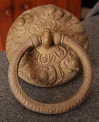 Large Heavy Ornate Antique Bronze Ringed Door Knocker