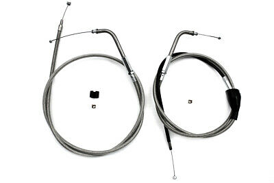 """46"""" Stainless Steel Throttle and Idle Cable Set fits Harley Davidson,V-Twin 3..."""